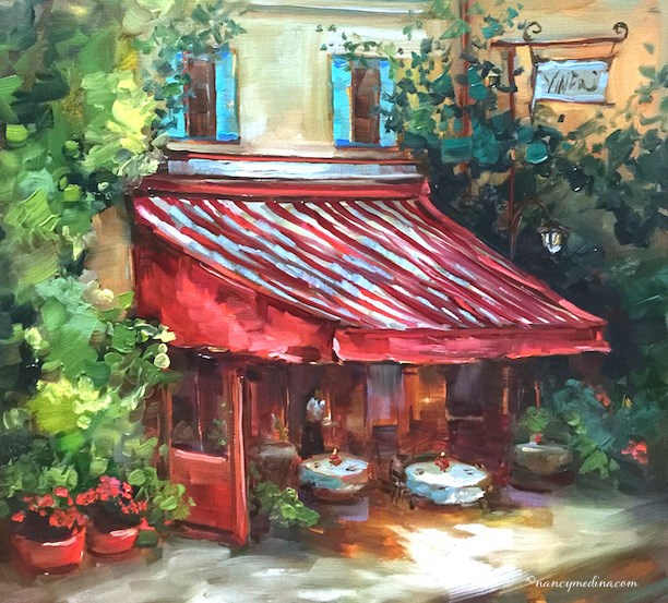 """No Reservations, a French Cafe"" original fine art by Nancy Medina"