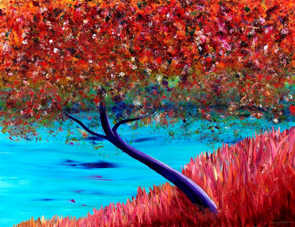 """Autumn Riverside"" original fine art by Karen Wysopal"