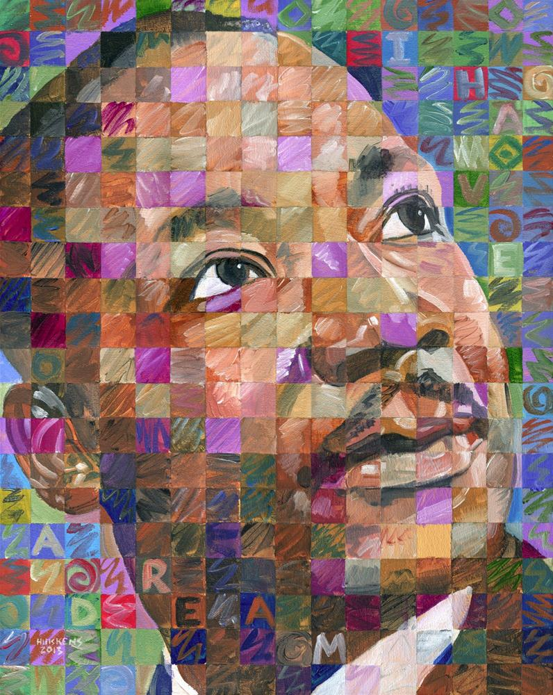 """Martin Luther King Jr. - Pop Art Portrait #26"" original fine art by Randal Huiskens"