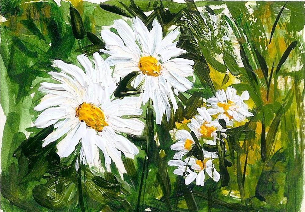 """""""ACEO White Daisies Field flowers landscape Garden leaves Art by Penny StewArt"""" original fine art by Penny Lee StewArt"""