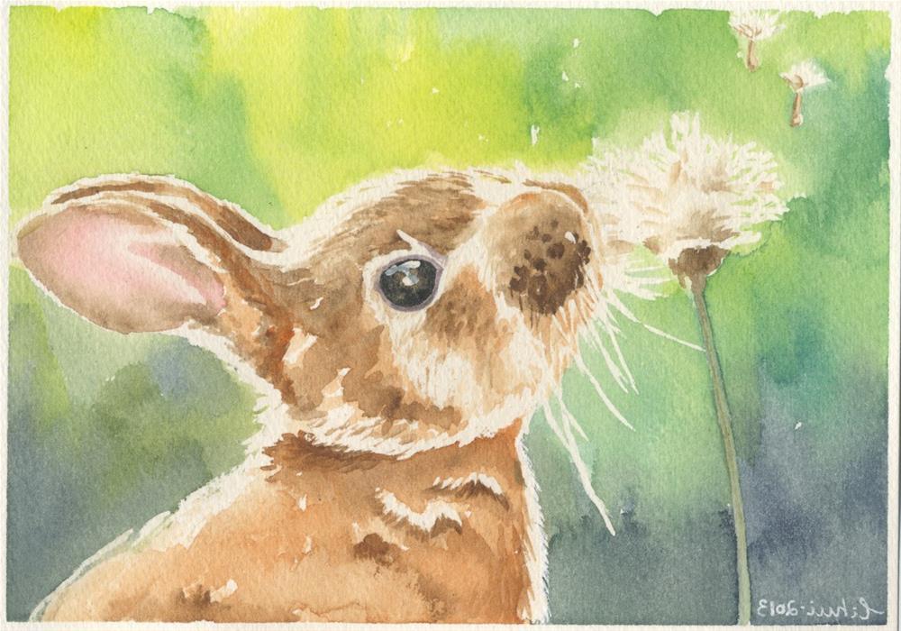 """""""Bunny No. 4"""" original fine art by Hui (Hue) Li"""