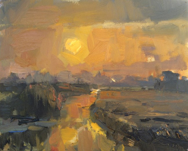 """""""Painting Dawn Yellow Sun"""" original fine art by Roos Schuring"""