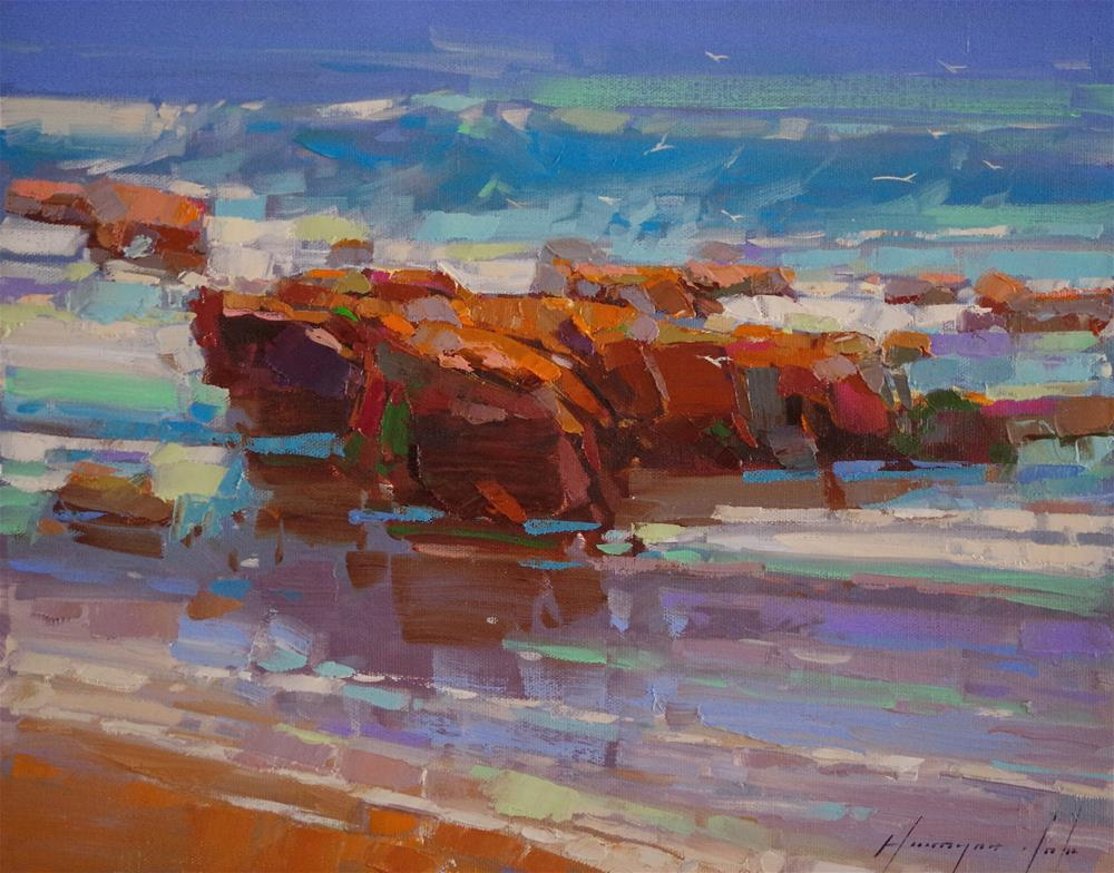 """Ocean Cliffs, Seascape oil painting, Original painting, Oil on Canvas,"" original fine art by V Y"
