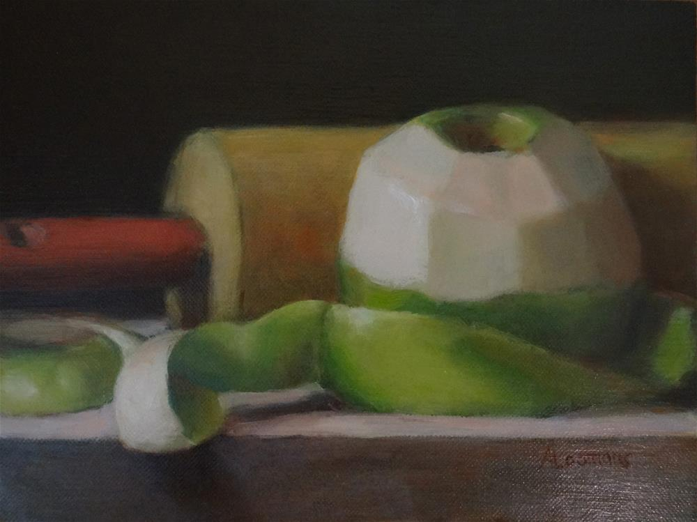 """Green Apple with Rolling Pin"" original fine art by Adele Loomans"