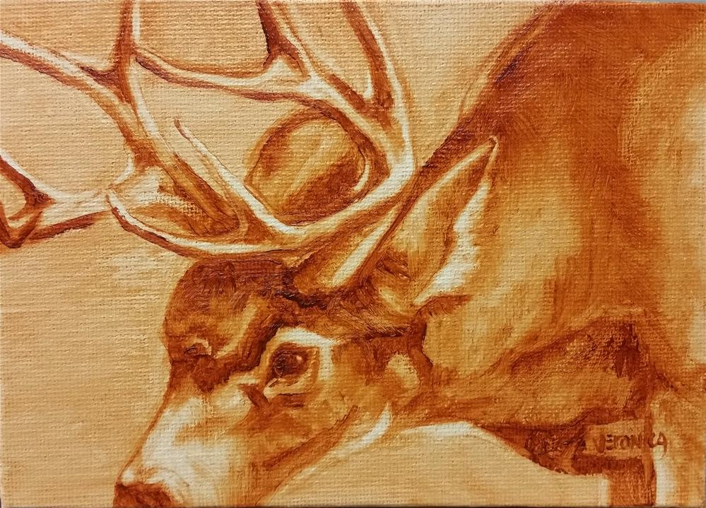 """Antlered"" original fine art by Veronica Brown"
