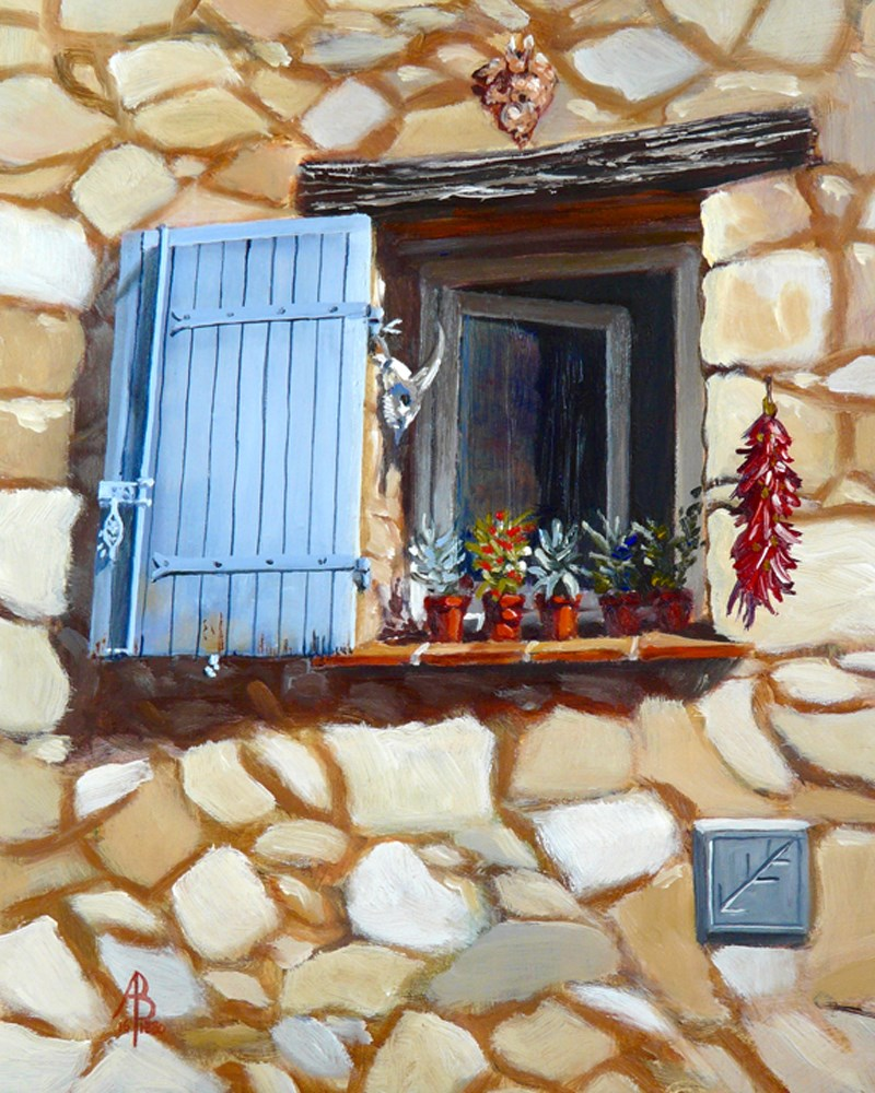 """Blue shutter and clutter"" original fine art by Alix Baker"