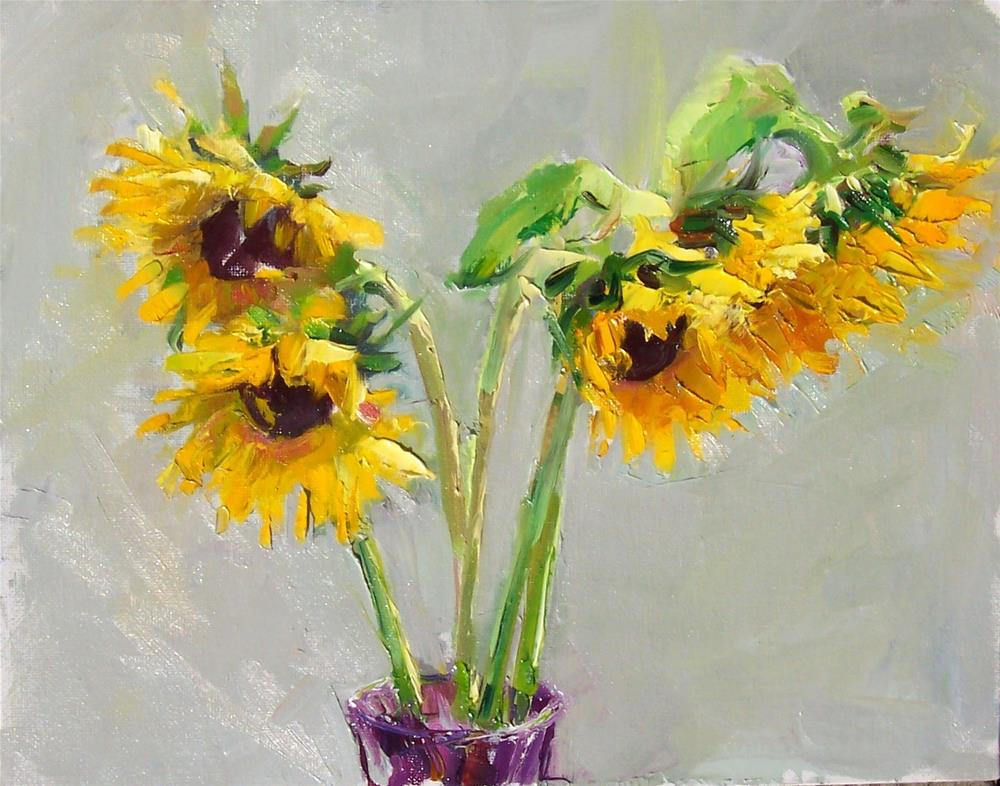 """Sunny Summer Sunflowers,still life,oil on canvas,11x14,price$450"" original fine art by Joy Olney"