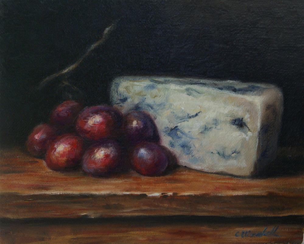 """Grapes and Blue Cheese Still Life"" original fine art by Carolina Elizabeth"