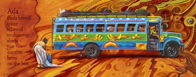 """Whimsical Figure, School Bus Art,Contemporary Painting Ada Quite Relievedby Colorado Artist Nancee"" original fine art by Nancee Busse"