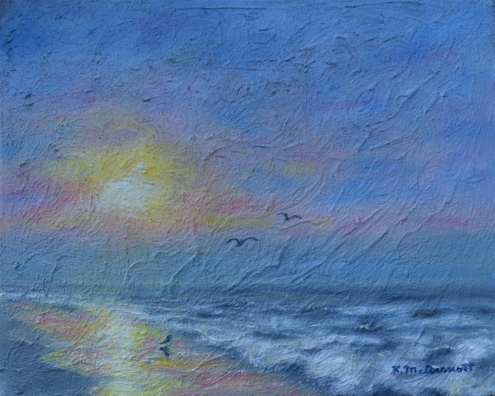 """Dawn Mist - Three Gulls (C) 2016 by K. McDermott"" original fine art by Kathleen McDermott"