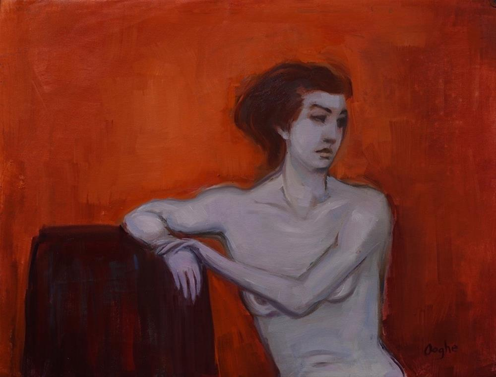 """Nude on Orange"" original fine art by Angela Ooghe"