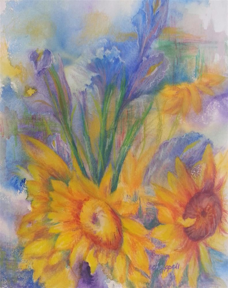 """Sunflowers and Irises"" original fine art by Becky Chappell"