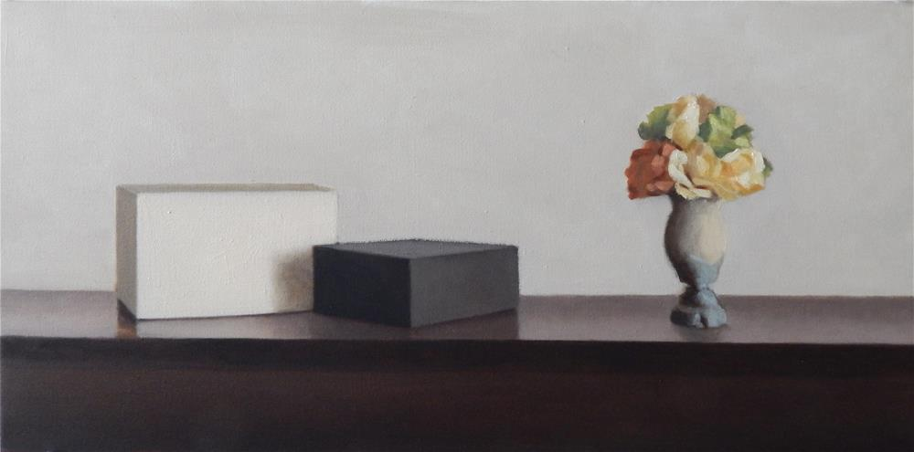 """Vase and Two Boxes"" original fine art by Megan Schembre"