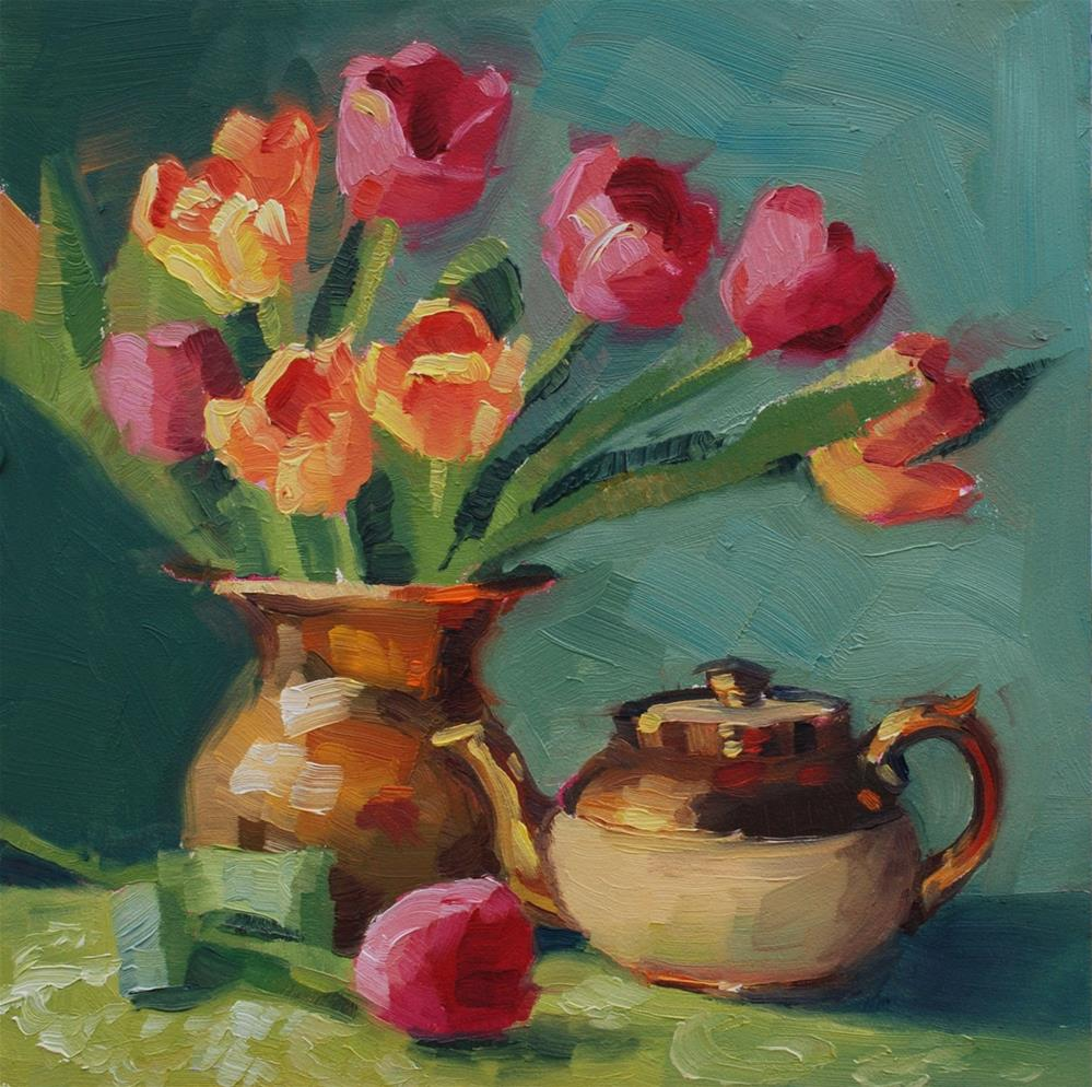 """Tulips and Gold"" original fine art by Susan McManamen"