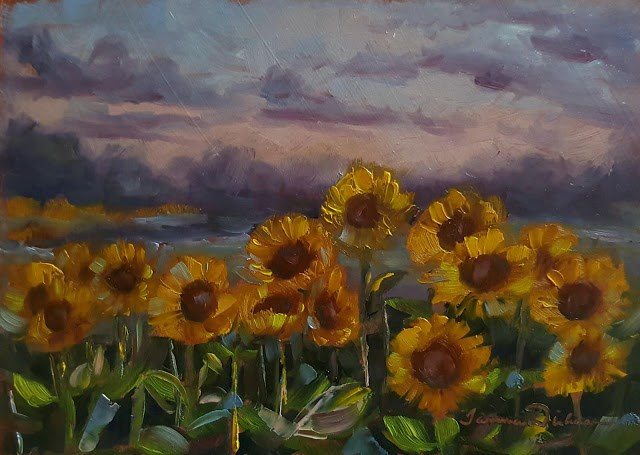 """Sunflowers at Last Light"" original fine art by Tammie Dickerson"
