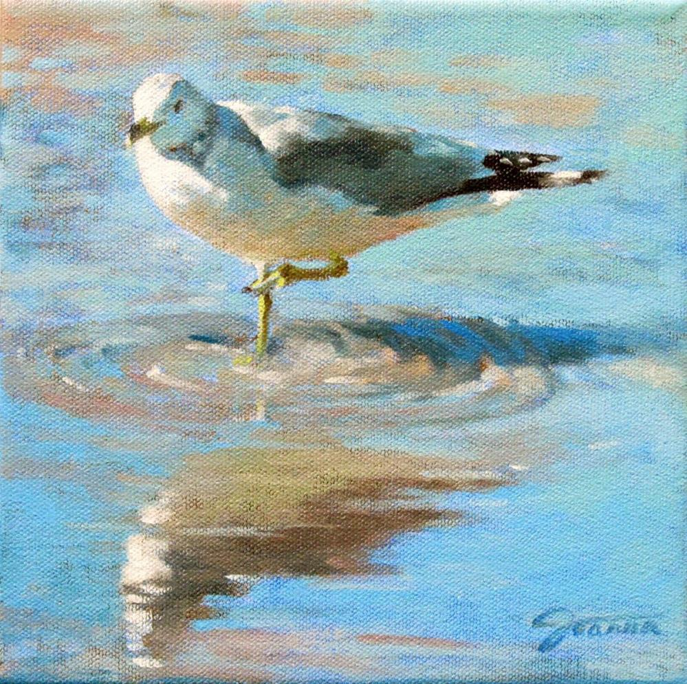 """Seagull with the Reflection"" original fine art by Joanna Bingham"