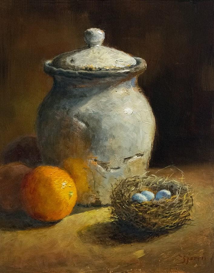 """Gray Pot and Bird Nest"" original fine art by Susan N Jarvis"