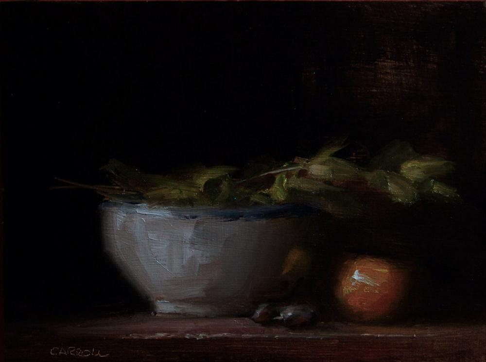 """Bowl with Leaves"" original fine art by Neil Carroll"