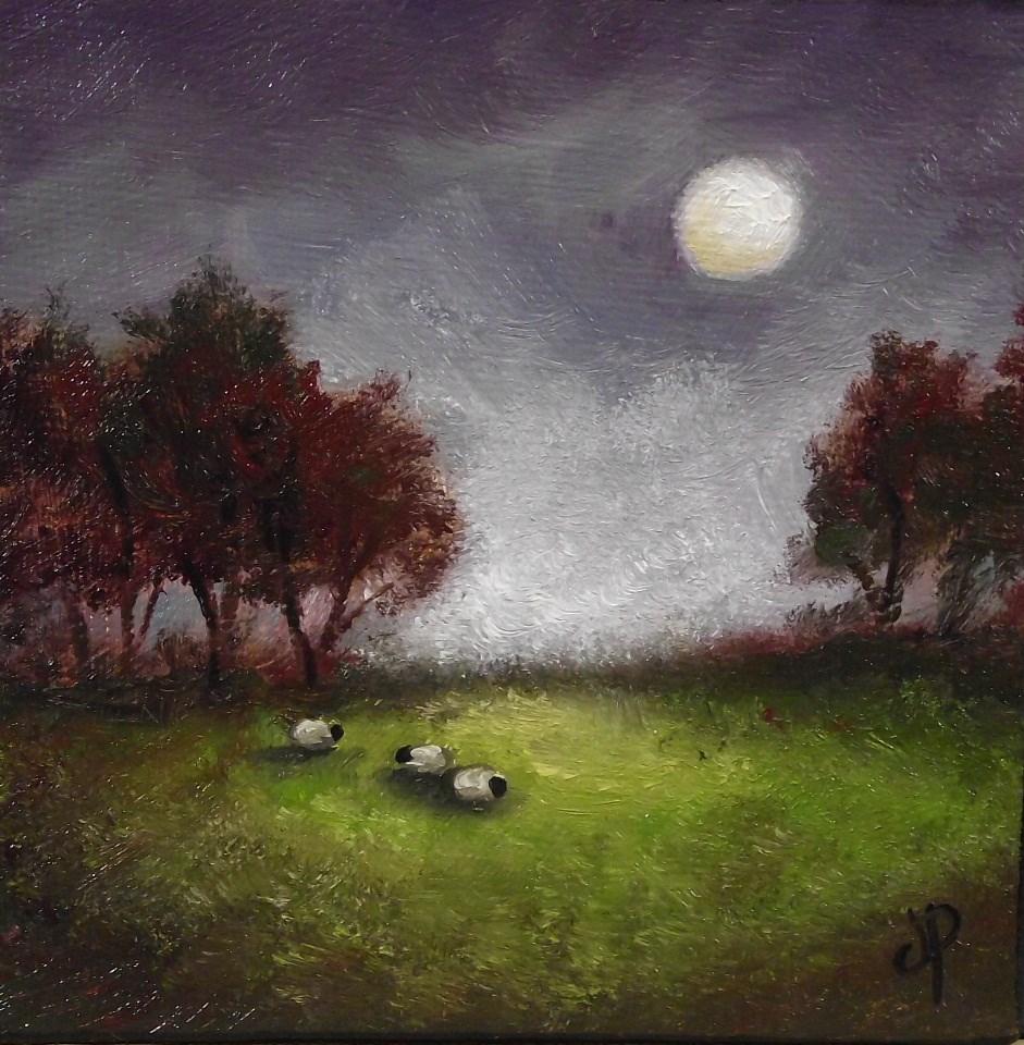 """Little Moon Sheep"" original fine art by Jane Palmer"