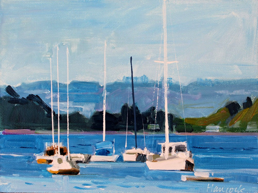 """Sailboats on Quartermaster"" original fine art by Gretchen Hancock"