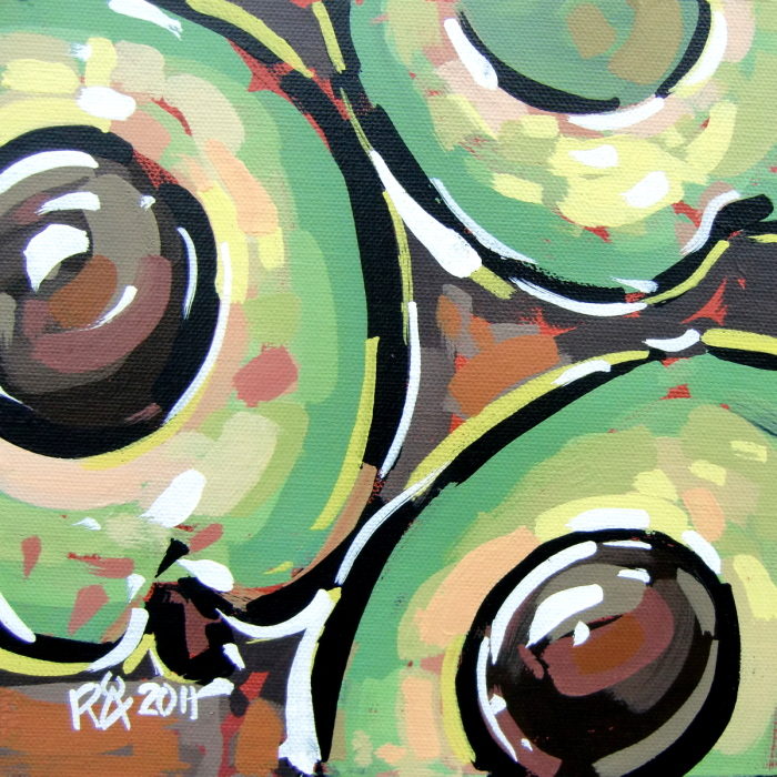 """3 avocado halves"" original fine art by Roger Akesson"