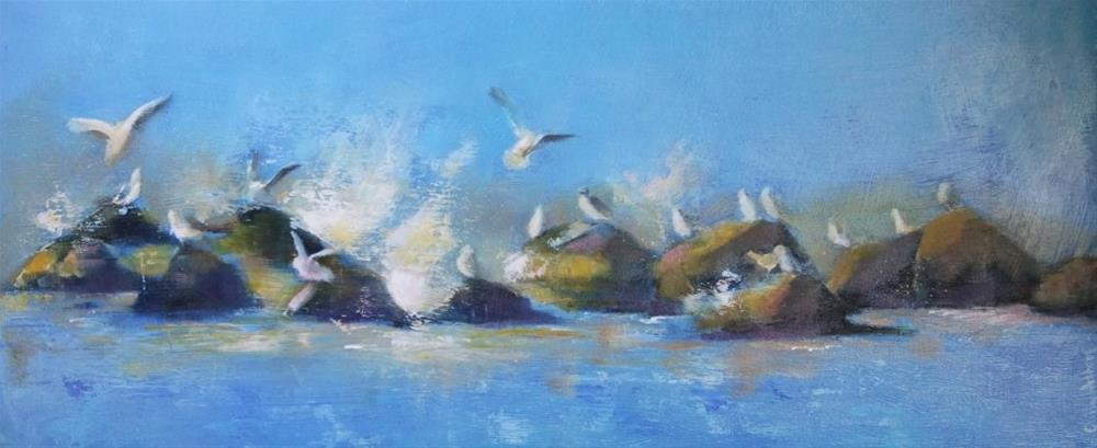 """Seagulls and Spray"" original fine art by Cathy Holtom"