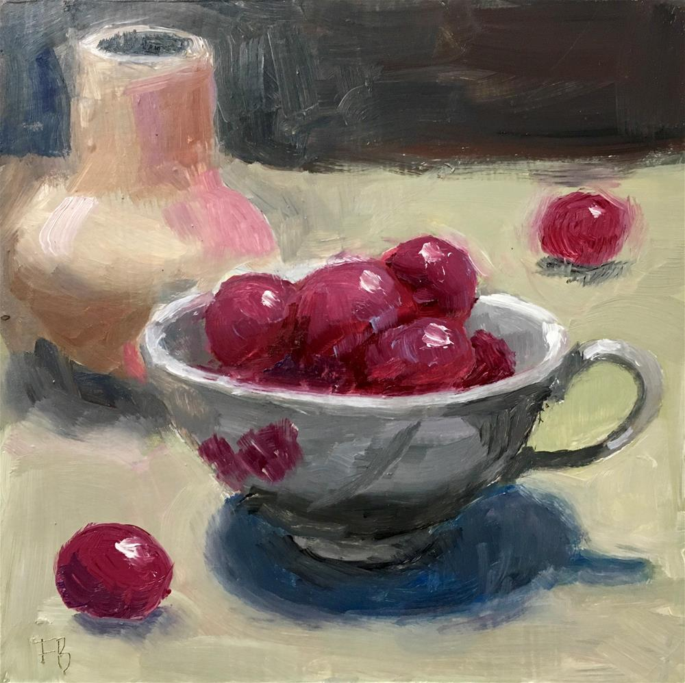 """087 Red Grapes In A Cup"" original fine art by Fred Bell"