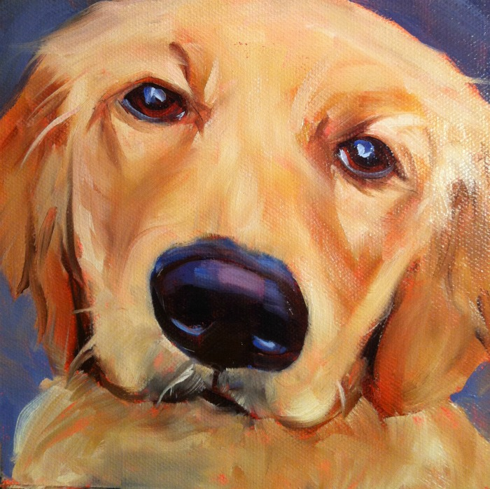 """Best Dog in The World #8, oil on ray mar, 6x6"" original fine art by Darlene Young"
