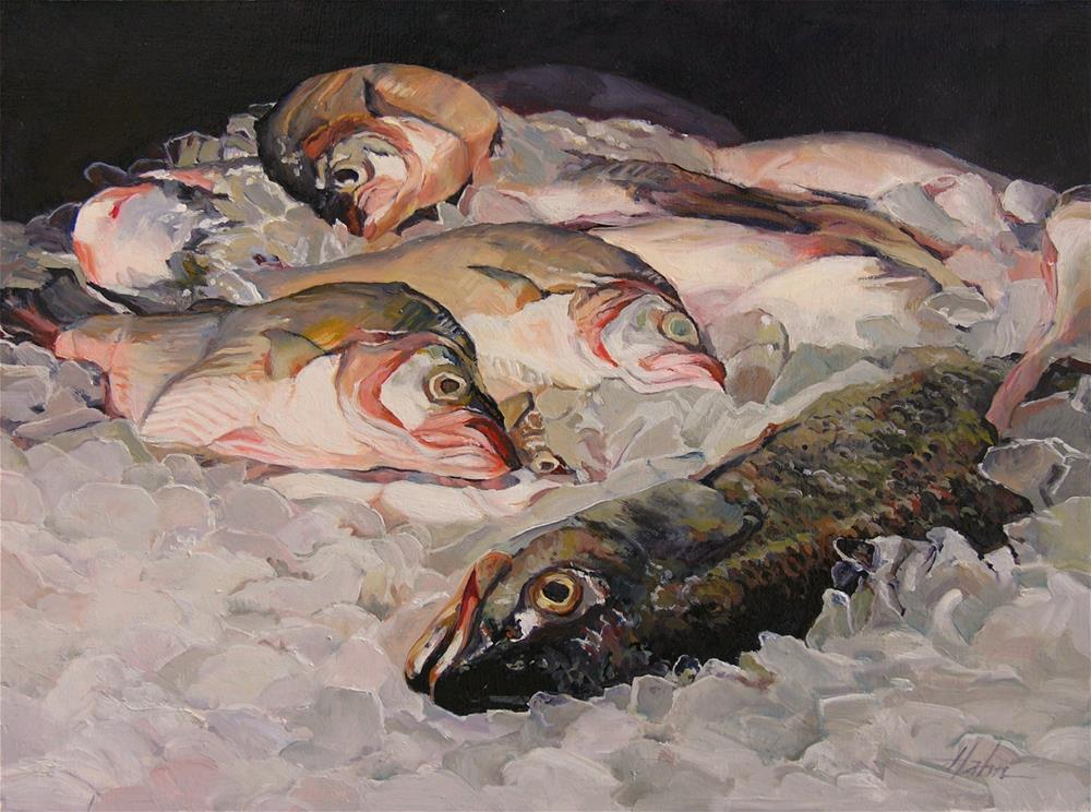 """Fish on Ice"" original fine art by Elaine Hahn"