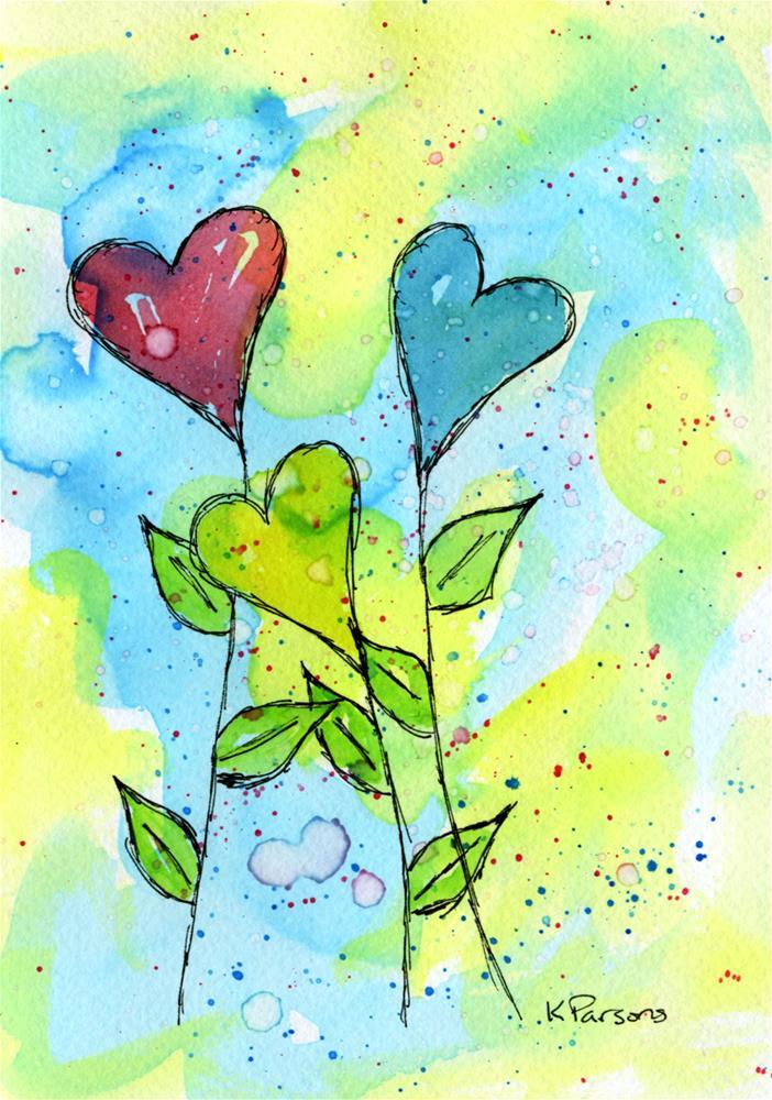 """Heart Bouquet"" original fine art by Kali Parsons"