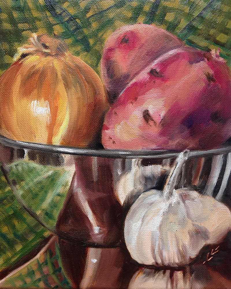 """Potato Soup"" original fine art by Linda Lowery"