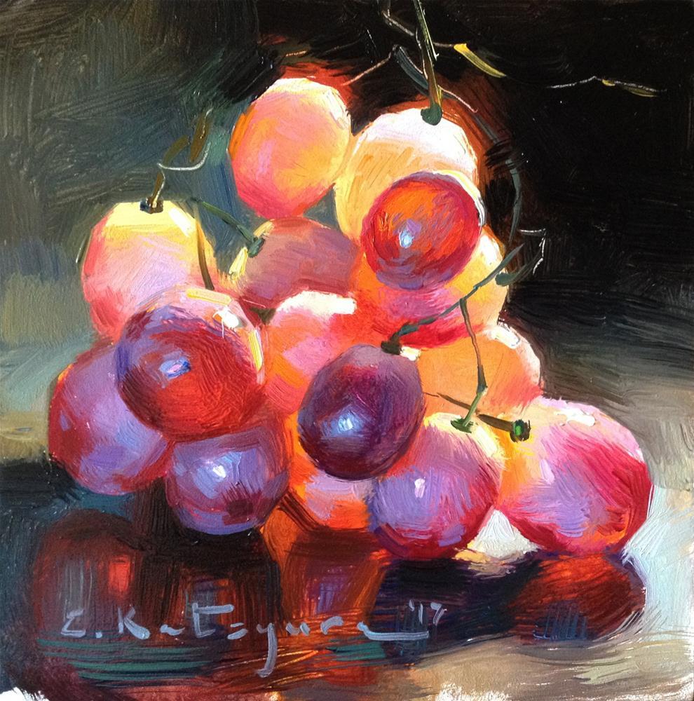 """Red Wine Grapes"" original fine art by Elena Katsyura"
