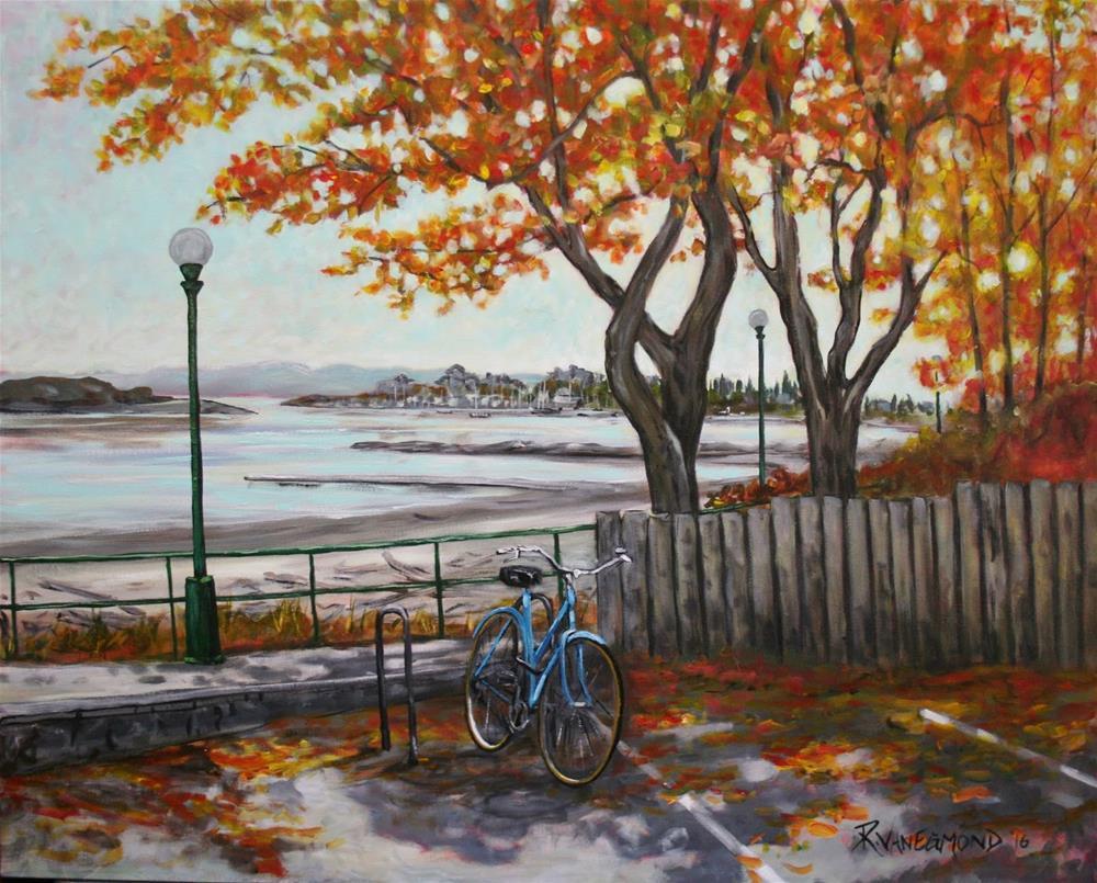 """SOLD    Autumn at Willows beach"" original fine art by Ruth Van Egmond"