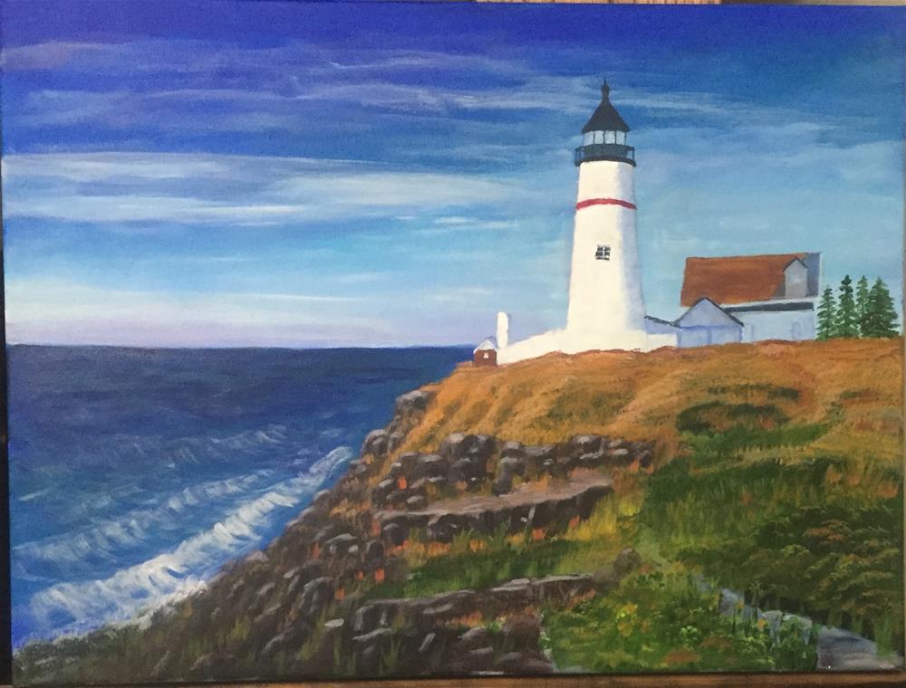 """""""Light house point"""" original fine art by Roger Johnson"""