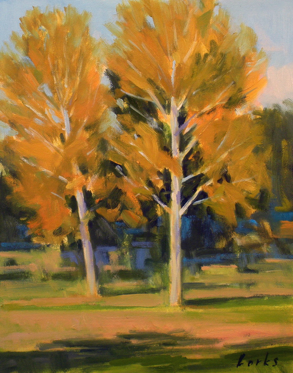 """Golden Sycamores"" original fine art by David Forks"
