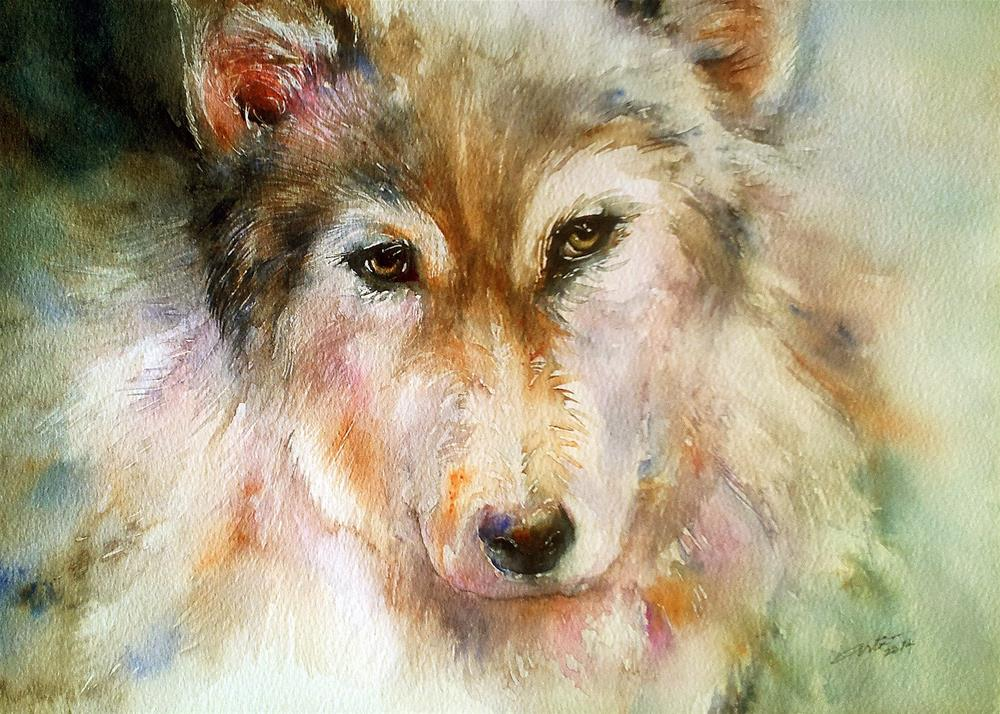 """The Husky Dog"" original fine art by Arti Chauhan"