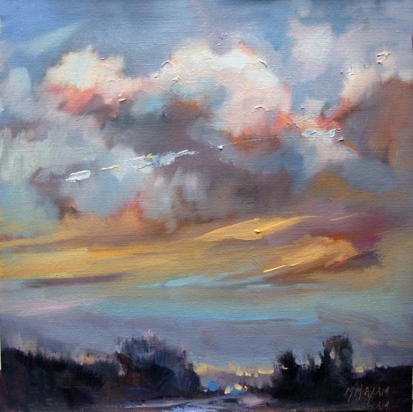"""Salmon Sky"" original fine art by Mary Maxam"