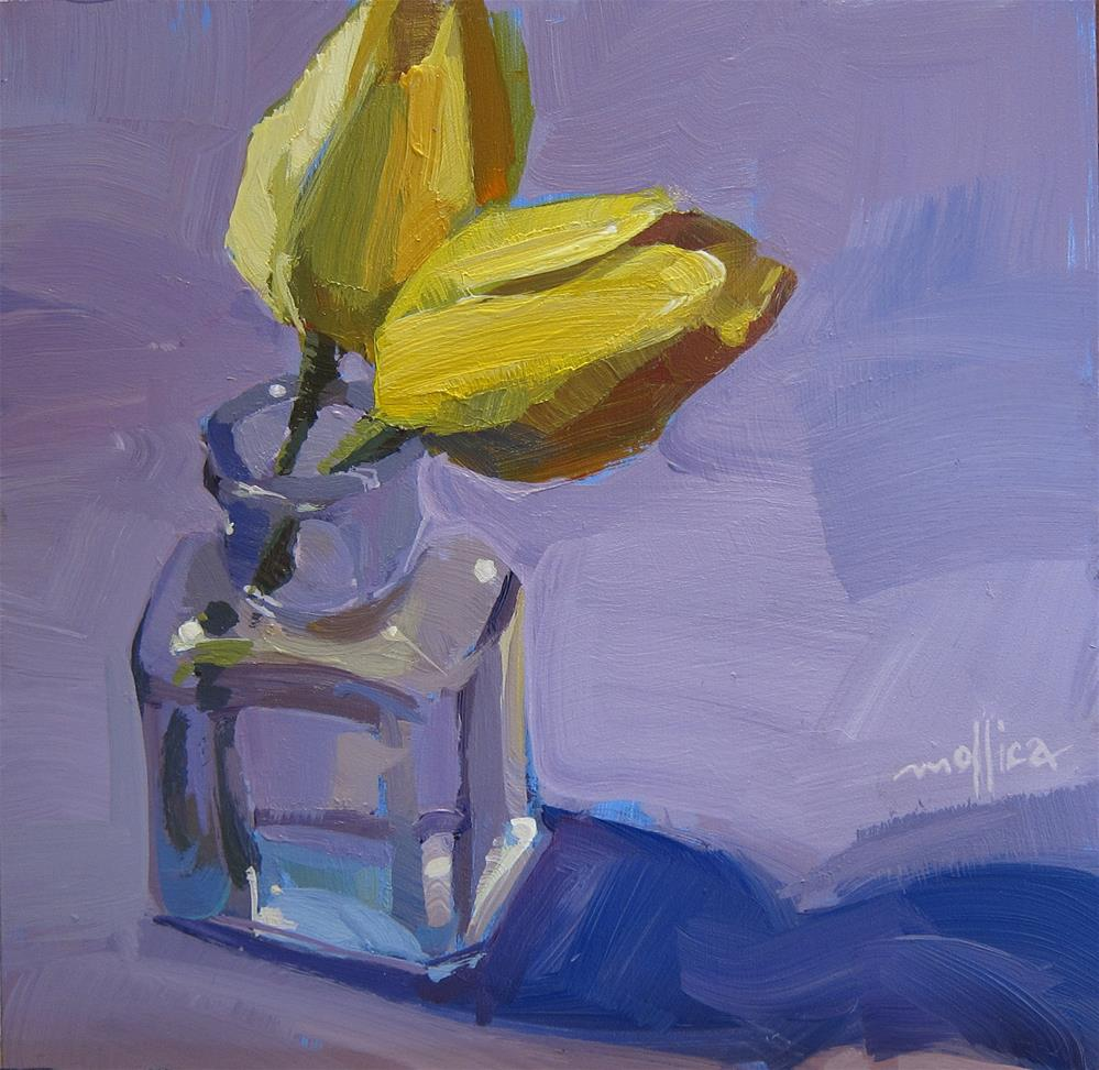 """Yellow Tulips in a Glass Bottle"" original fine art by Patti Mollica"