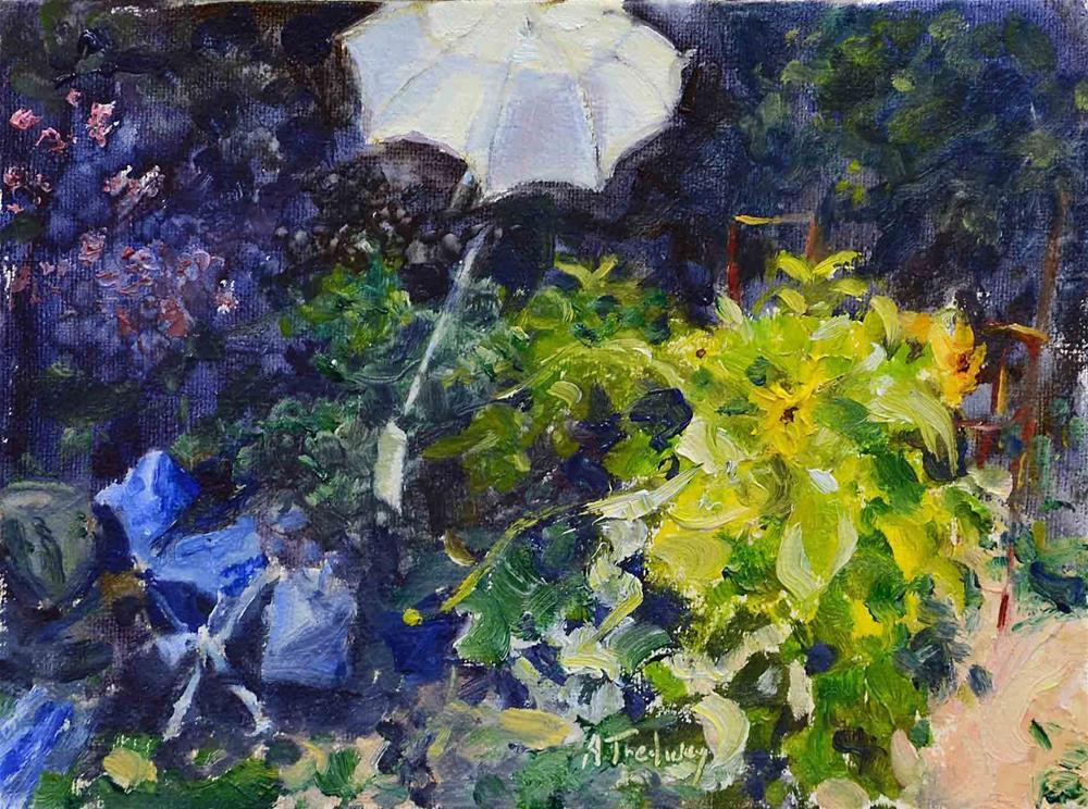 """""""Setup in Garden"""" original fine art by alicia tredway"""