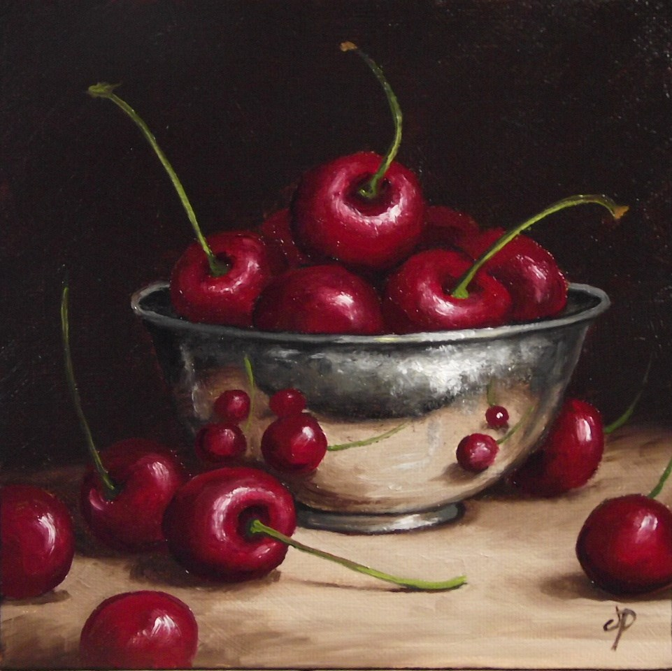 """Cherries in Silver"" original fine art by Jane Palmer"