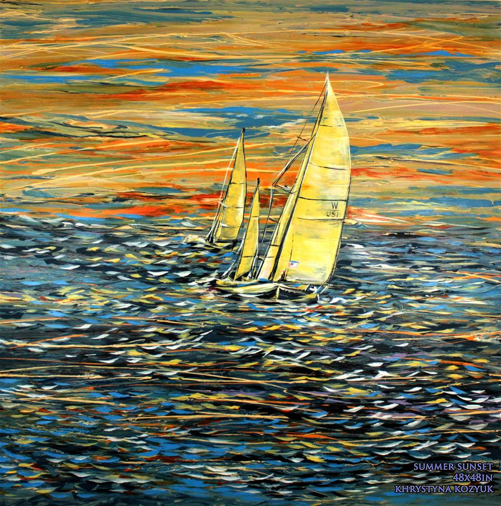 """Summer Sunset,original seascape large painting on canvas"" original fine art by Khrystyna Kozyuk"