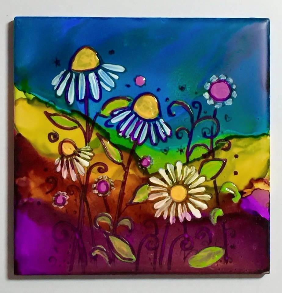 """Flower garden on tile"" original fine art by Barbara Beckmann"