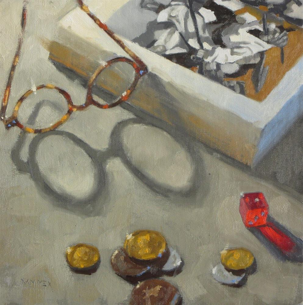 """Reading Treasure Island  8 x 8  oil"" original fine art by Claudia Hammer"