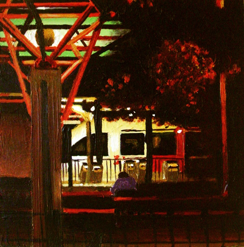 """Nocturnal Train- City Scene Painting Of  Train At Night"" original fine art by Gerard Boersma"