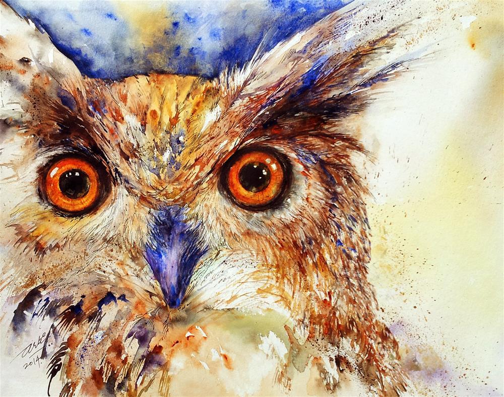"""Wide eyes_The Owl"" original fine art by Arti Chauhan"
