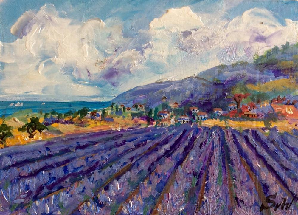 """Provence lavender field painting"" original fine art by Sonia von Walter"