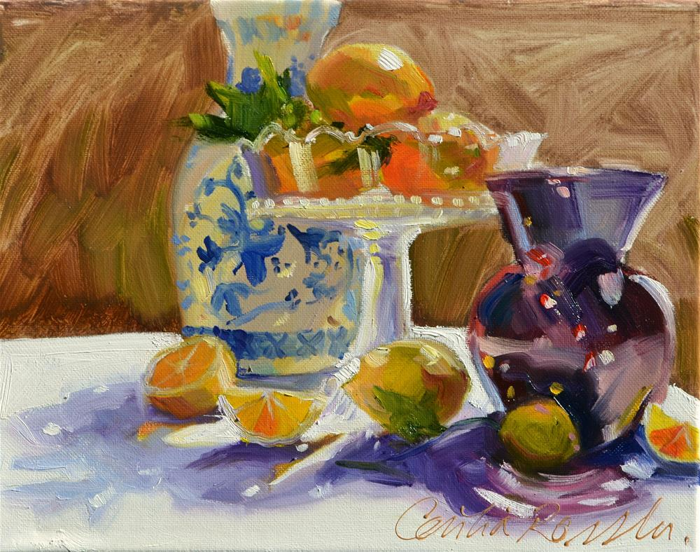 """LEMONS AND DELFT"" original fine art by Cecilia Rosslee"
