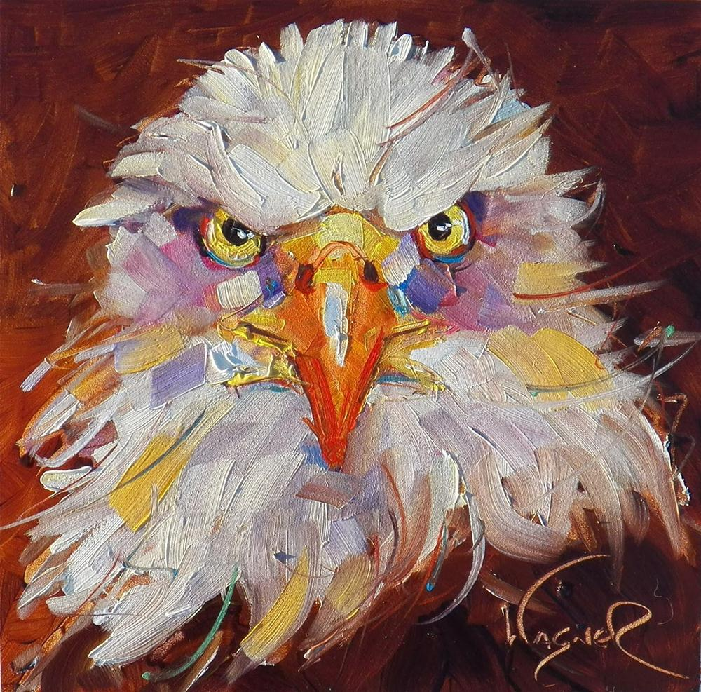 """FRESH START with CONTEMPORARY EAGLE by OLGA WAGNER and  ART SHOW"" original fine art by Olga Wagner"