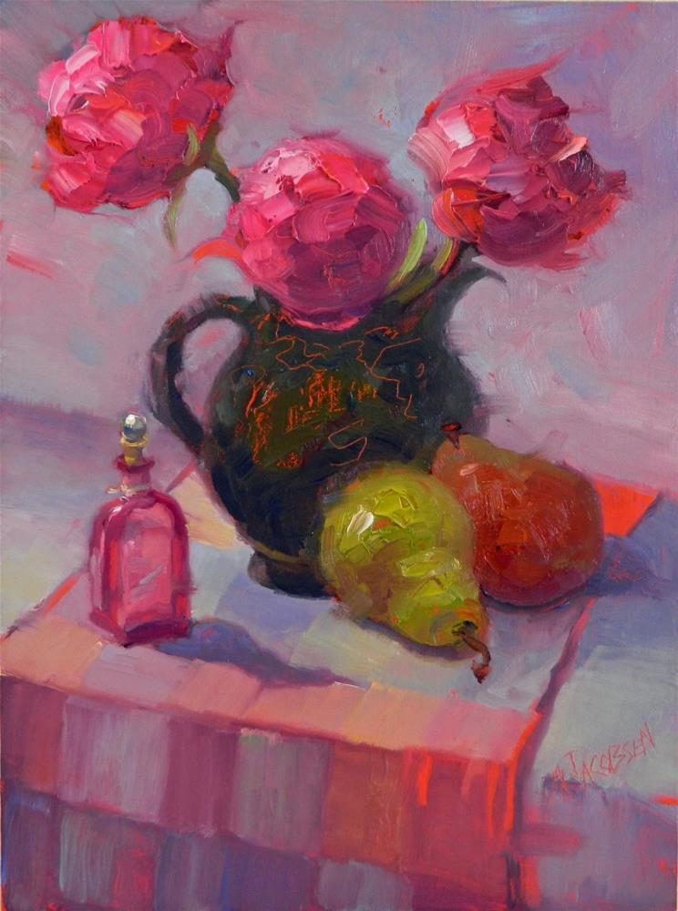 """Pears, Peonies and Pentimento, 12x16, oil, peonies, pink, pentimento, MAryanne Jacobsen art"" original fine art by Maryanne Jacobsen"