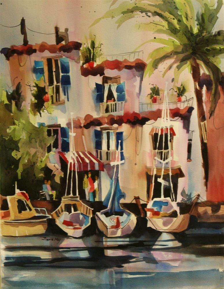 """Capri Harbor"" original fine art by Jinnie May"